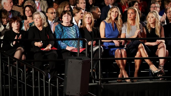 Also sitting in the audience were, from left, Kathleen Willey, Juanita Broaddrick and Kathy Shelton. Less than two hours before the debate, those three -- along with Paula Jones -- appeared in a Trump news conference to speak out against the Clintons. Willey, Broaddrick and Jones have previously accused former President Bill Clinton of inappropriate sexual behavior. Shelton's rapist was defended by Hillary Clinton as a young lawyer. That man was convicted of a lesser charge and served 10 months in jail.