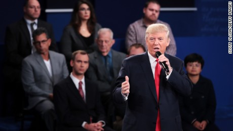 ST LOUIS, MO - OCTOBER 09:  Republican presidential nominee Donald Trump responds to a question during the town hall debate at Washington University on October 9, 2016 in St Louis, Missouri. This is the second of three presidential debates scheduled prior to the November 8th election.  (Photo by Scott Olson/Getty Images)