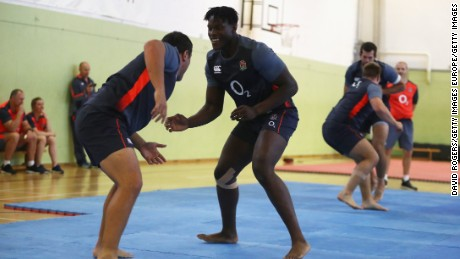 Jamie George and Maro Itoje got to grips with judo at the training camp.
