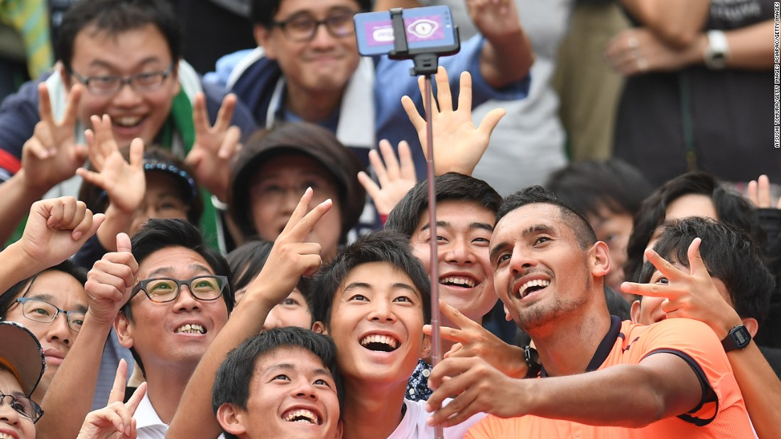 Earlier this month Kyrgios and his fans in Tokyo were all smiles after he won the title in Japan. It was the third and biggest title of his career.