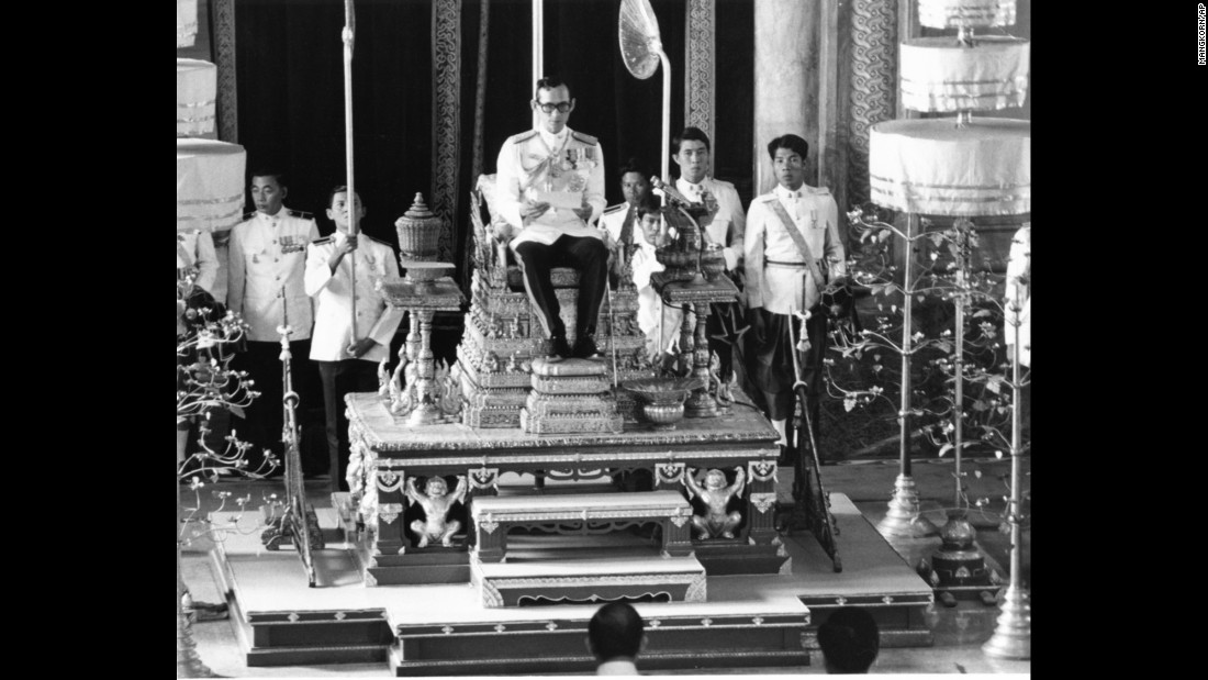 The King convenes the first meeting of his country's National Reform Assembly during a ceremony held in Bangkok in 1976. The King put the monarchy at the center of Thai society, acting as a force for community and tradition even as the country flipped between political crises and military coups.