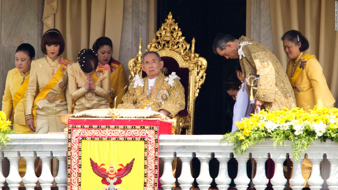 The King is pictured with family members in 2012. He addressed a crowd from a balcony on his 85th birthday.