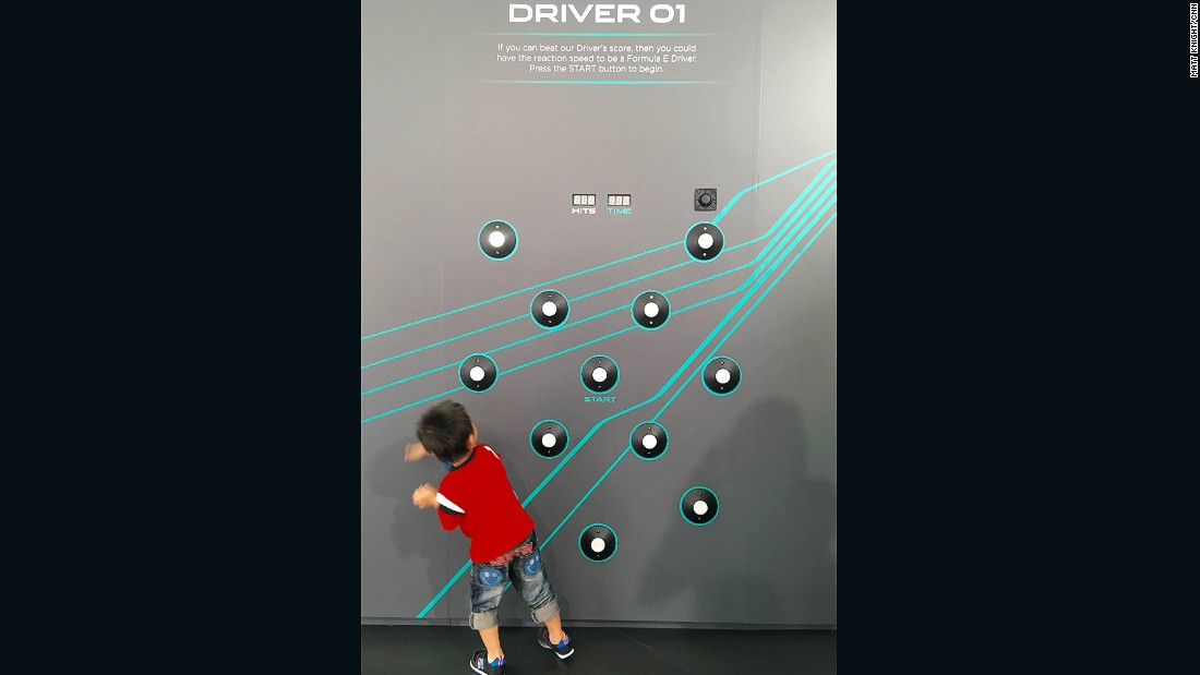 New FIA Formula E team Jaguar had lots of games to entertain visitors to the Hong Kong ePrix eVillage on Sunday - this little guy gave this reaction-time test his best shot...