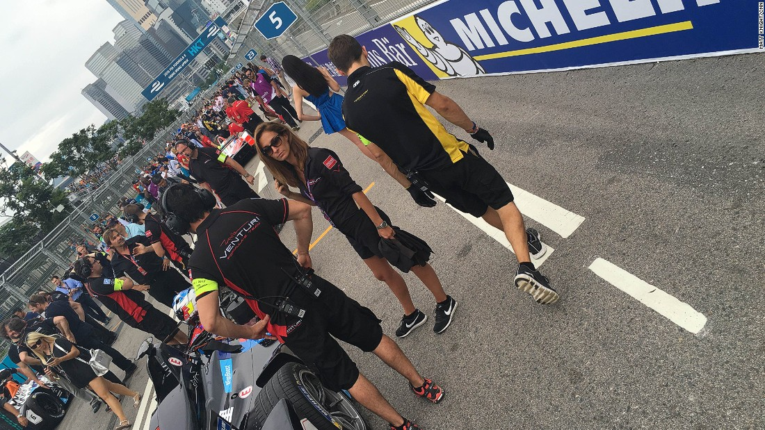 The grid was packed before lights out with local celebs, dignitaries and teams making final preparations for the race.