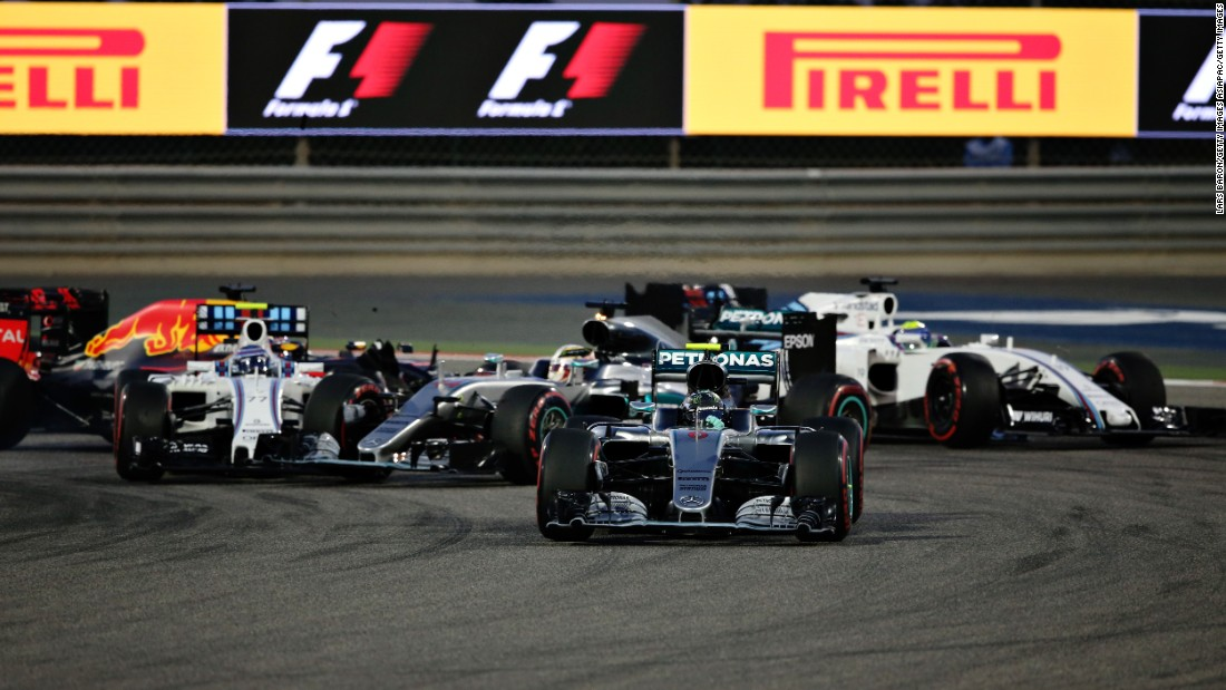"Another slow start and a first-lap collision with the Williams of Valtteri Bottas hampers Hamilton's charge. <a href=""http://cnn.com/2016/04/03/motorsport/rosberg-mercedes-bahrain-grand-prix/"" target=""_blank"">Rosberg ticks off another victory in the desert </a>to stretch his lead as his rival finishes third."