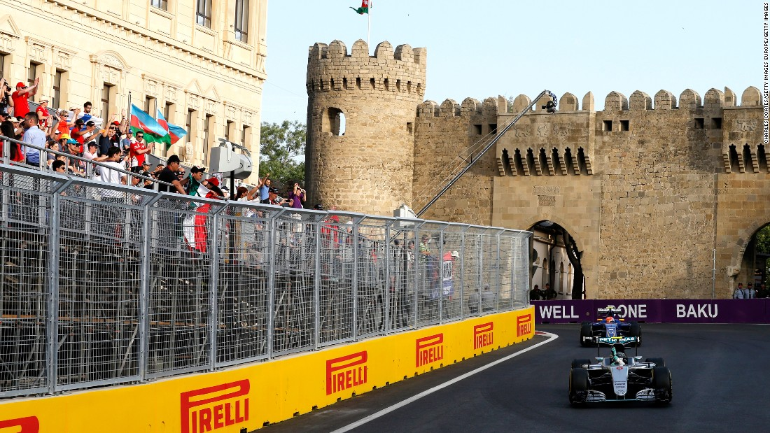 "F1 arrives for the new street race around Baku and <a href=""http://cnn.com/2016/06/19/motorsport/motorsport-european-gp-rosberg-hamilton/"" target=""_blank"">the historic win goes to a dominant Rosberg.</a> Hamilton is frustrated by an engine mode setting during the European Grand Prix and crosses the line in fifth."