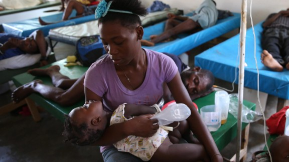 People sick with cholera receive medical assistance at a hospital in Jeremie on October 10. The destruction from Matthew has accelerated the cholera epidemic in Haiti and undermined strides made in fighting the waterborne disease, the country