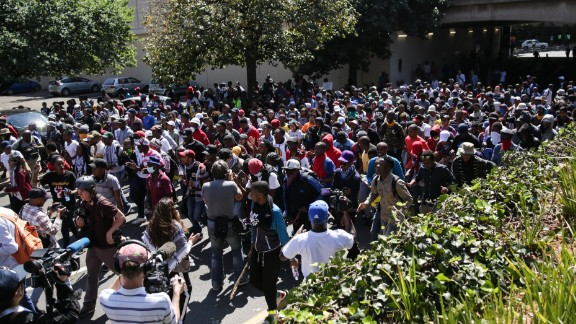 Hundreds of students from the #FeesMustFall movement protest the resuming of classes at the University of Witwatersrand (Wits) in Johannesburg.