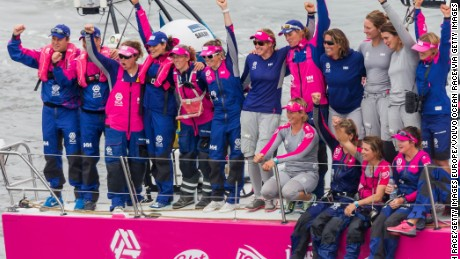 The all-female crew on Team SCA competed in the 2014-2015 Volvo Ocean Race.