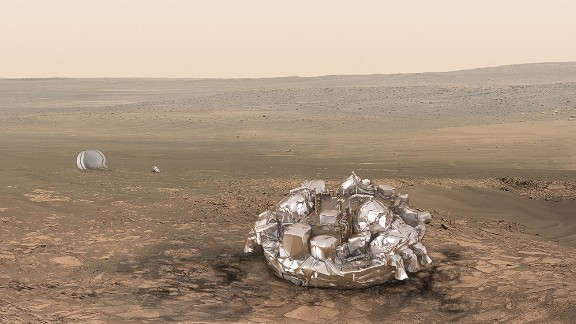 One of the aims of the mission is to test a landing craft called Schiaparelli, pictured on Mars in this artist's impression.