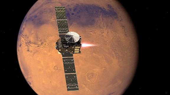 The ExoMars Trace Gas Orbiter arrives will look for gases that could signal biological activity. Pictured, a representation of the orbiter beginning its entry into Mars orbit.