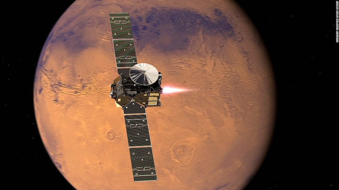 "<a href=""http://exploration.esa.int/mars/46475-trace-gas-orbiter/"" target=""_blank"">The ExoMars Trace Gas Orbiter </a>arrives will look for gases that could signal biological activity. Pictured, a representation of the orbiter beginning its entry into Mars orbit."