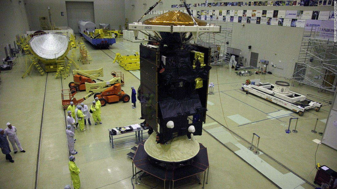 It's a joint project between the European Space Agency (ESA) and the Russian Roscosmos. Pictured, the orbiter and Schiaparelli undergoing testing in Baikonur cosmodrome, Kazakhstan.
