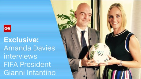 CNN anchor Amanda Davies spoke to FIFA chief Gianni Infantino Monday.
