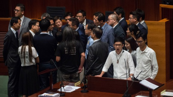 """Hong Kong rebel lawmakers shouted, banged drums and railed against """"tyranny"""" on Wednesday when they took their oaths of office, as calls grow for a split from Beijing."""