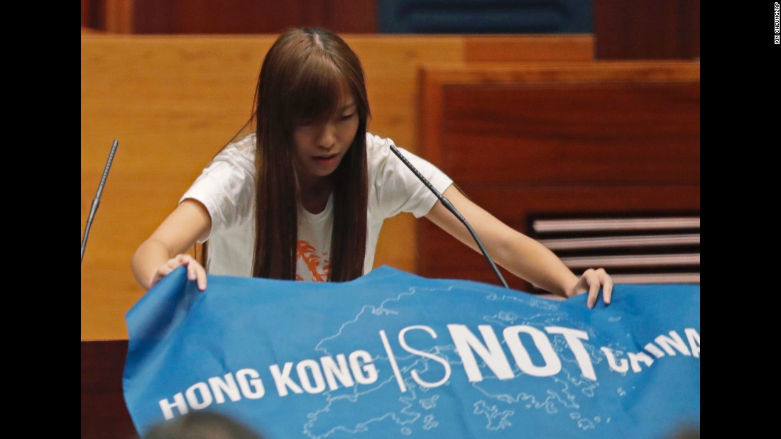"Youngspiration's Yau Wai-ching told the city's Legislative Council: ""I do solemnly swear that I will be faithful and bear true allegiance to the Hong Kong nation,"" after laying out a flag bearing the words ""Hong Kong is not China."""