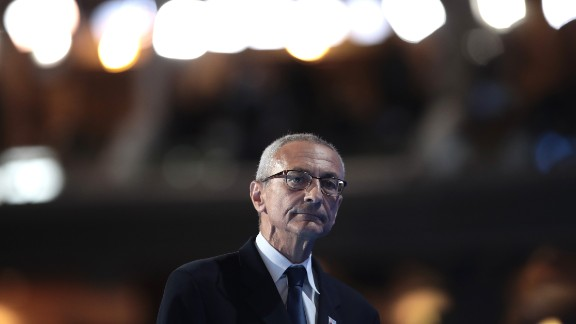 John Podesta, chairman of the Hillary Clinton presidential campaign, walks off stage after delivering a speech on the first day of the Democratic National Convention at the Wells Fargo Center, July 25, 2016 in Philadelphia.