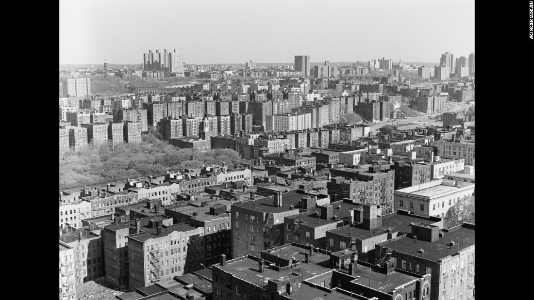"An aerial shot from the roof of Conzo's building, looking northwest on 149th Street in 1980. ""The scenery's changed a lot since then,"" he said."