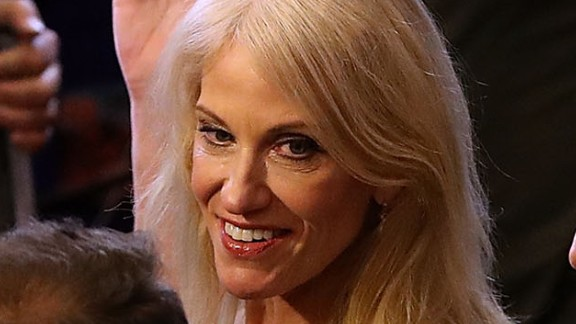 Kellyanne Conway, campaign manager for the Donald Trump campaign, walks through the spin room following the second presidential debate with democratic presidential nominee former Secretary of State Hillary Clinton and republican presidential nominee Donald Trump at Washington University on October 9, 2016 in St Louis, Missouri.