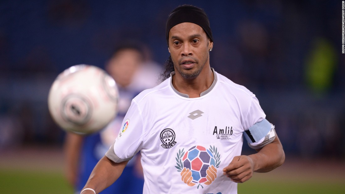 "The ""White Team"" included former Brazil and Barcelona star Ronaldinho."