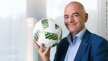 "FIFA president Gianni Infantino poses for a picture during a interview with AFP on October 5, 2016 at the world football's governing body headquarters in Zurich. Infantino confirmed that he defended a ""World Cup in 48 nations that opens more opportunities for more teams,"" while believing that ""co-organization between countries"" was ""a fundamental point"" in an exclusive interview with AFP. / AFP / FABRICE COFFRINI        (Photo credit should read FABRICE COFFRINI/AFP/Getty Images)"
