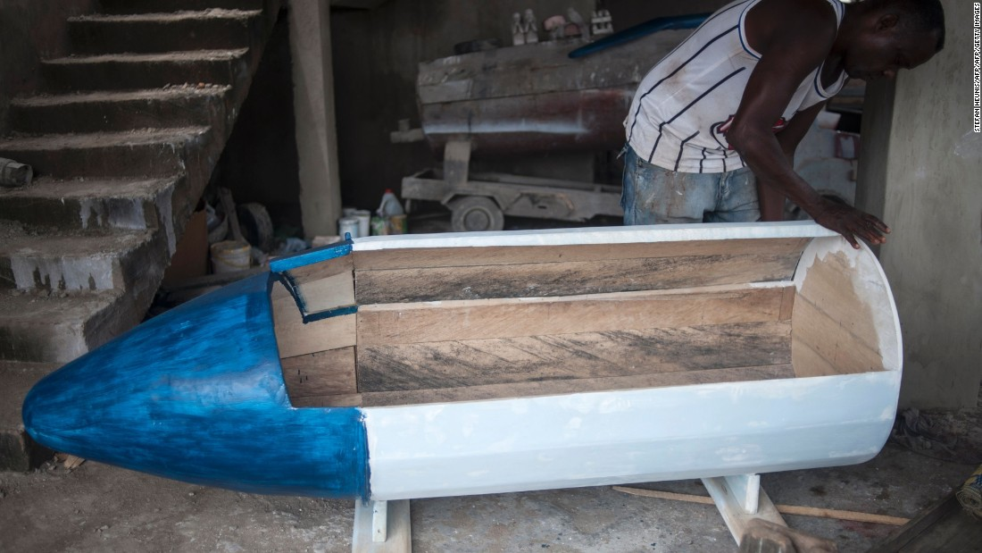 Creating the coffins is intensive labor, and can take several weeks to produce.<br /><br />The artisans typically use light, white wood from the indigenous Wawa tree, although mahogany is sometimes used for exports.