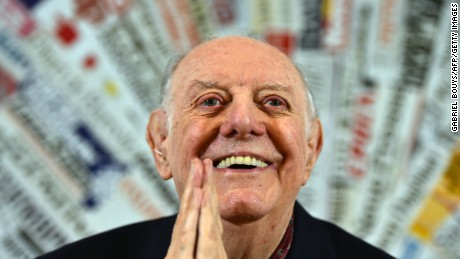 Recipient of the 1997 Nobel Prize for Literature, Dario Fo attends a press conference at the Foreign Press club in Rome on December 3, 2015.  Dario Fo, is an Italian actor-playwright, comedian, singer, theatre director, stage designer, songwriter, painter and political campaigner. His plays have been translated into 30 languages and performed across the world. Fo's solo pièce célèbre, titled Mistero Buffo is recognised as one of the most controversial and popular spectacles in postwar European theatre.   / AFP / Gabriel BOUYS        (Photo credit should read GABRIEL BOUYS/AFP/Getty Images)