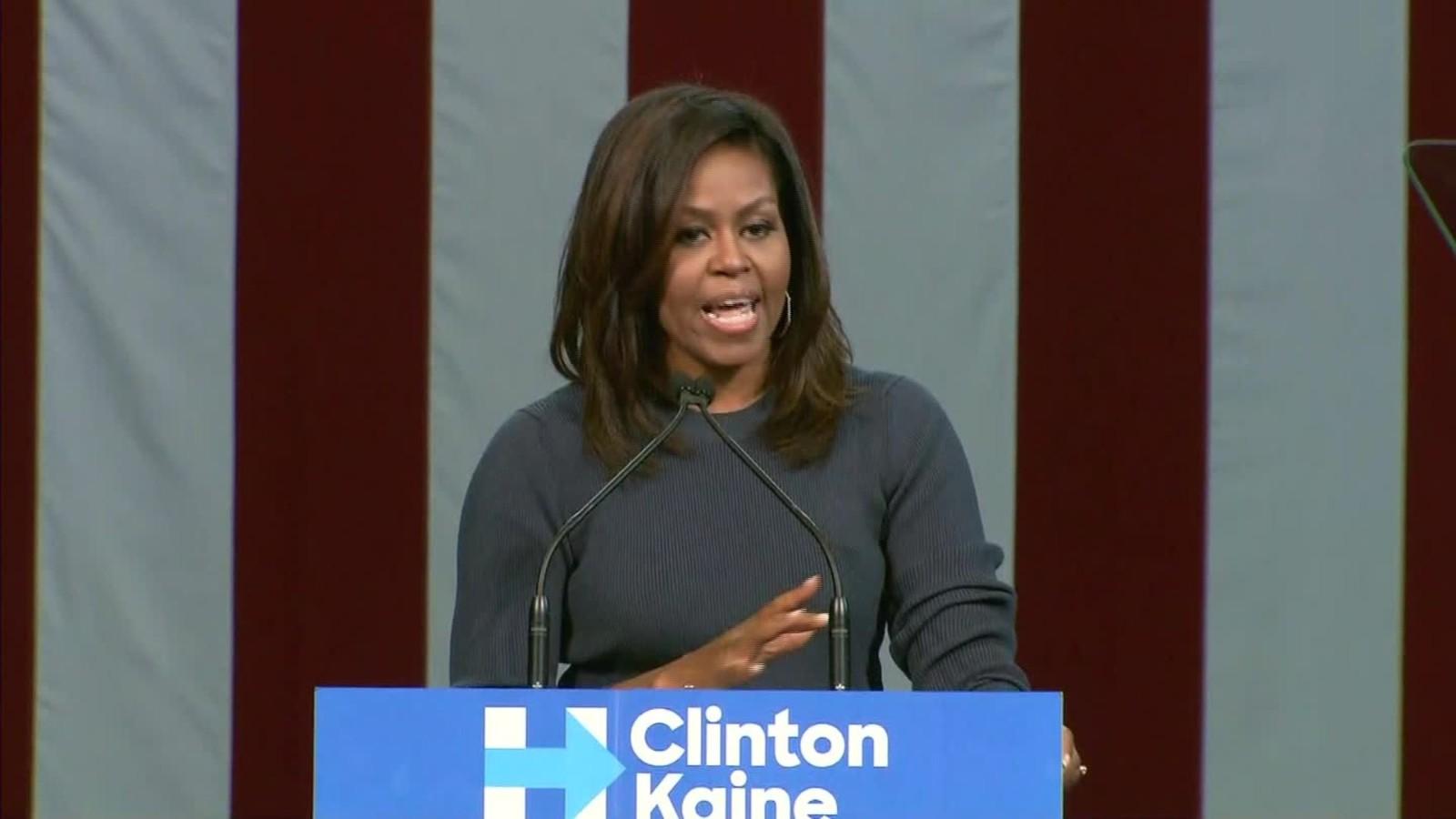 Michelle Obama takes on Trump's 'obscene' behavior