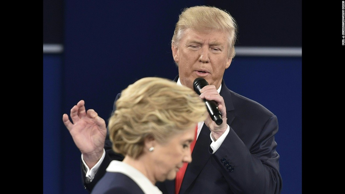 "Republican presidential nominee Donald Trump speaks at the <a href=""http://www.cnn.com/2016/10/10/opinions/clinton-trump-second-debate-roundup/index.html"" target=""_blank"">second presidential debate</a> in St. Louis on Sunday, October 9. Trump and Hillary Clinton, the Democratic Party's nominee, <a href=""http://www.cnn.com/2016/10/09/politics/debate-fact-check-trump-clinton/"" target=""_blank"">clashed on a range of issues</a>."
