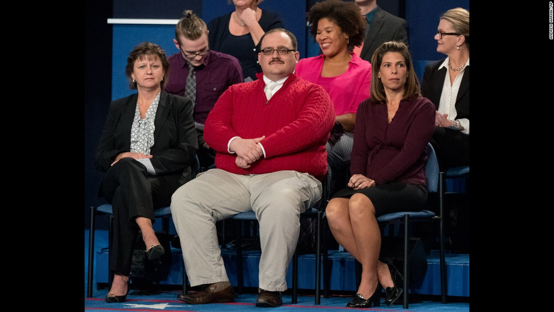 "Ken Bone, an undecided voter, waits for the start of the second presidential debate in St. Louis on Sunday, October 9. The town-hall style debate quickly saw Bone <a href=""http://www.cnn.com/2016/10/10/politics/debate-ken-bone-staring-man-trnd/"" target=""_blank"">become an Internet sensation</a>, with many viewers declaring him -- not nominees Donald Trump or Hillary Clinton -- the true winner."