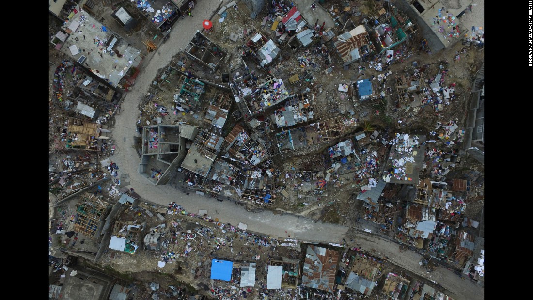 Homes destroyed and damaged by Hurricane Matthew are seen from above in Jeremie, Haiti, on Friday, October 7.