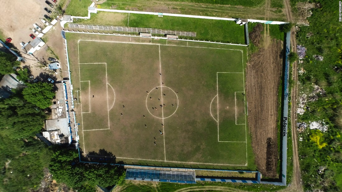 "A field belonging to the Club Social y Deportivo Liniers Argentine soccer team in San Justo, Argentina, is is seen from above on Wednesday, October 12. <a href=""http://bigstory.ap.org/article/141131ab3f3d4280a13e4b8f20be8287/argentina-soccer-club-played-30-years-crooked-field"" target=""_blank"">According to The Associated Press</a>, the team has been playing on the crooked field for nearly 30 years."