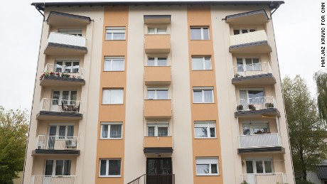 The modest apartment building in Sevnica where Melania grew up.