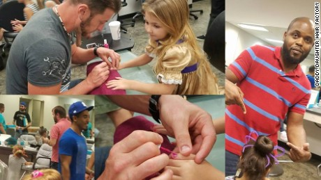Dads slay with their new-found skills at a recent event by the Daddy Daughter Hair Factory.