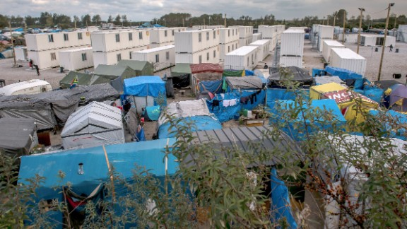 A view of the migrant camp in Calais on Wednesday, October 12.