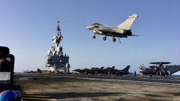 A Rafale M jet takes off from France's Charles de Gaulle aircraft carrier in the Mediterranean.