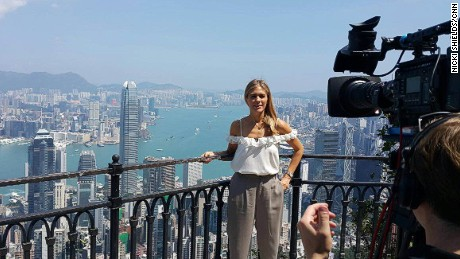 Nicki Shields filming for CNN's Supercharged show at Hong Kong's famous Victoria Peak.