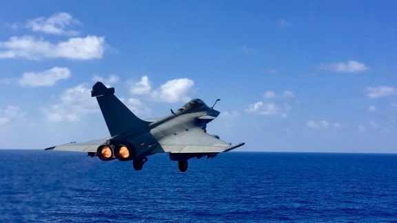 """The Rafales have got lots of different sensors that allow us to be precise when we drop weapons on enemies,"" said Commander Marc."
