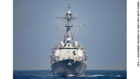 (FILES) This file photo taken on April 08, 2016 shows a US Navy handout photo displaying the Arleigh Burke Class guided-missile destroyer USS Nitze (DDG 94) operating in the Mediterranean Sea.  The United States on October 13, 2016 bombed three radar sites controlled by Huthi rebels in Yemen, the first direct US strike against the group following missile attacks against US warships last week, the Pentagon said. The strikes in Huthi-controlled territory on Yemen's Red Sea coast, authorized by President Barack Obama, were conducted with Tomahawk cruise missiles fired by the destroyer USS Nitze, a US official said.   / AFP PHOTO / Navy Media Content Operations (NMCO) / MC3 J. Alexander DELGADOMC3 J. ALEXANDER DELGADO/AFP/Getty Images