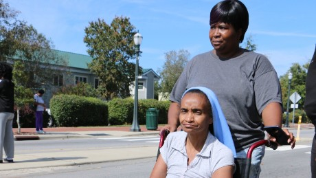 Detherine Hyman evacuated with her mom, Elizabeth, left, and daughter.