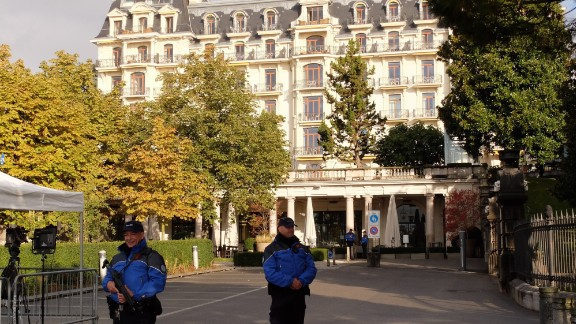 Security outside the venue in Lausanne, Switzerland, where diplomats are meeting for talks on Syria, October 15, 2016.