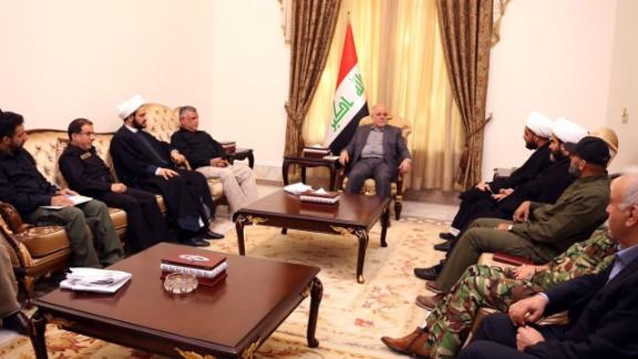 Iraqi Prime Minister Haider al-Abadi meets PMU leaders Saturday.