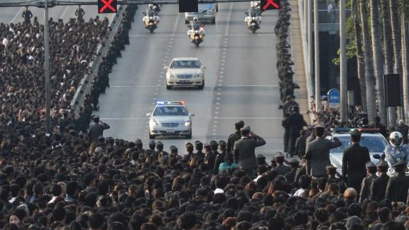 A van carries the body of Thai King Bhumibol Adulyadej
