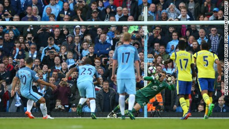 Maarten Stekelenburg saves his second penalty, denying Sergio Aguero from the spot.