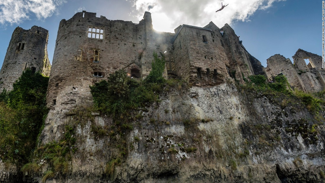 Britain's Blake Aldridge dives from 26 meters at Chepstow Castle at his home event in Pembrokeshire, where he placed eighth in September.