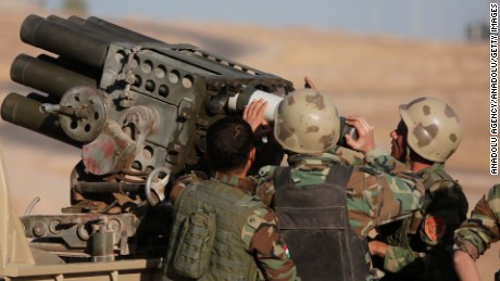 Peshmerga forces attack ISIS targets during an operation to retake Mosul.