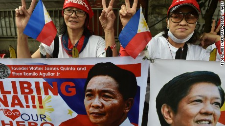 Supporters of the late dictator Ferdinand Marcos demonstrate in Manila.