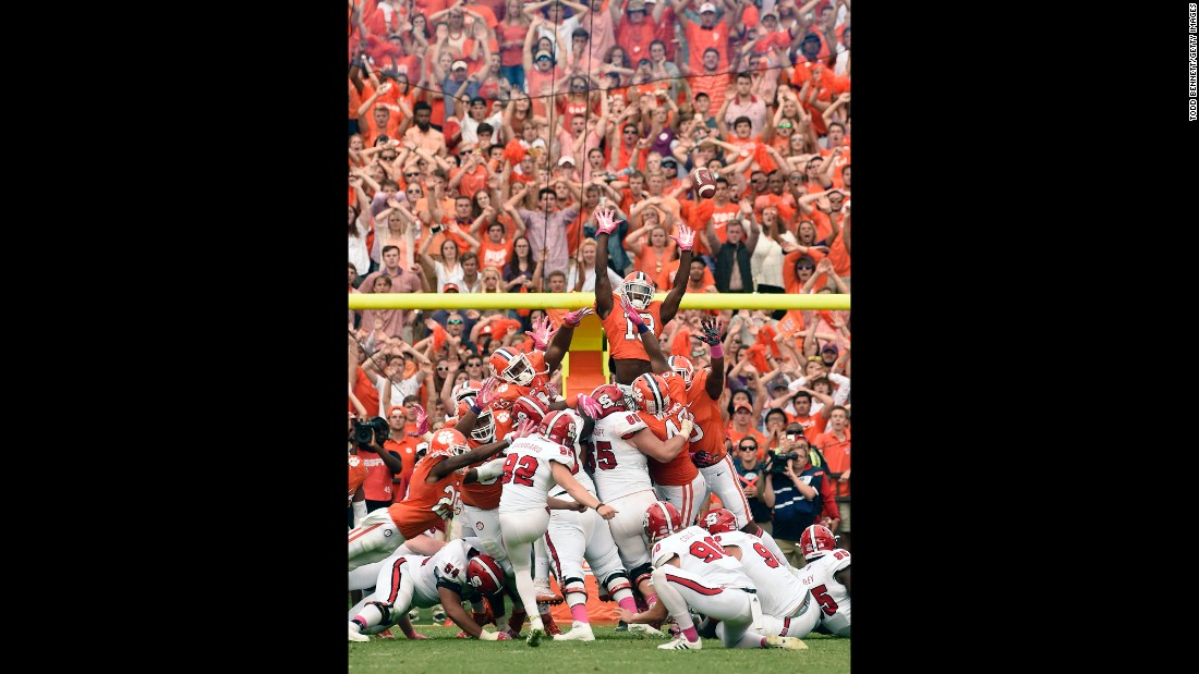 North Carolina State kicker Kyle Bambard misses a last-second field goal at Clemson on Saturday, October 15. Clemson went on to win in overtime and preserve its undefeated record.