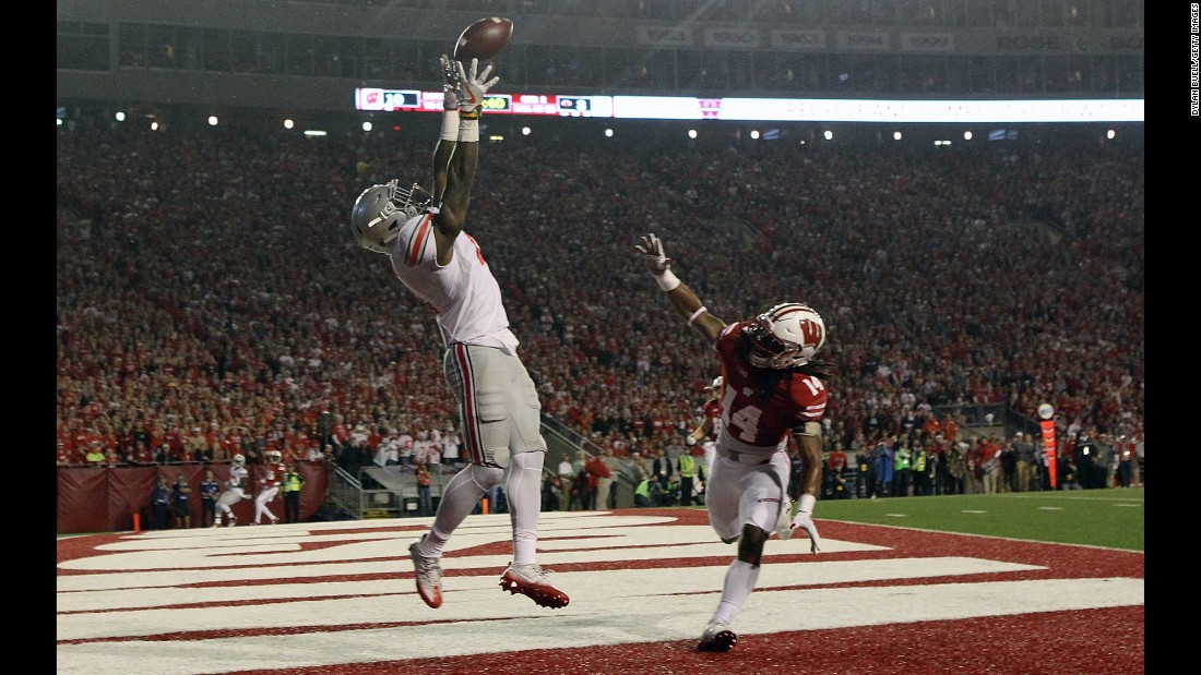 Ohio State running back Curtis Samuel tries to make a catch at Wisconsin on Saturday, October 15.