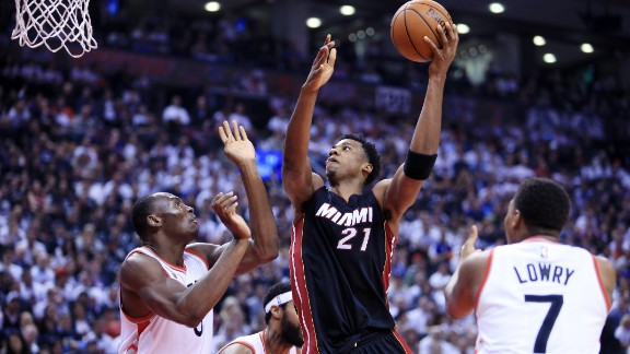 """Whiteside (#21) is the ultimate American redemption story. The seven-footer was drafted out of lowly Marshall University, and was cut by the Sacramento Kings, Memphis Grizzlies and even Al Mouttahed Tripoli of the Lebanese league before catching on with Miami in 2014. In a league run by """"small ball,"""" Whiteside excels as a throwback center, averaging 3.68 blocks per game in 2016 -- the highest mark since 2000. He also recorded three triple-doubles -- tying LeBron James and James Harden -- earning him a four-year $98 million deal with the Heat in July."""